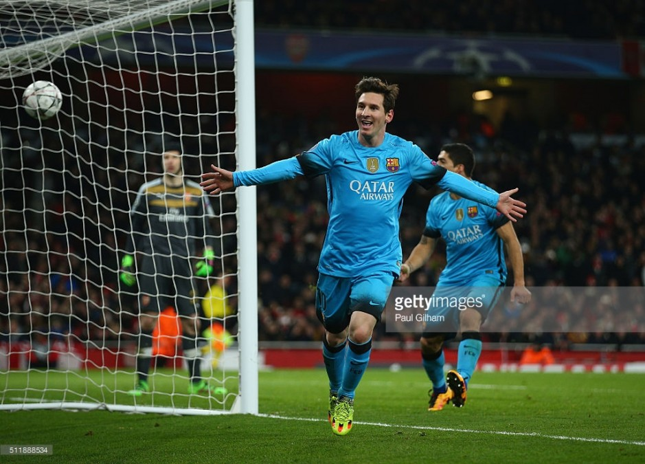 during the UEFA Champions League round of 16 first leg match between Arsenal and Barcelona on February 23, 2016 in London, United Kingdom.
