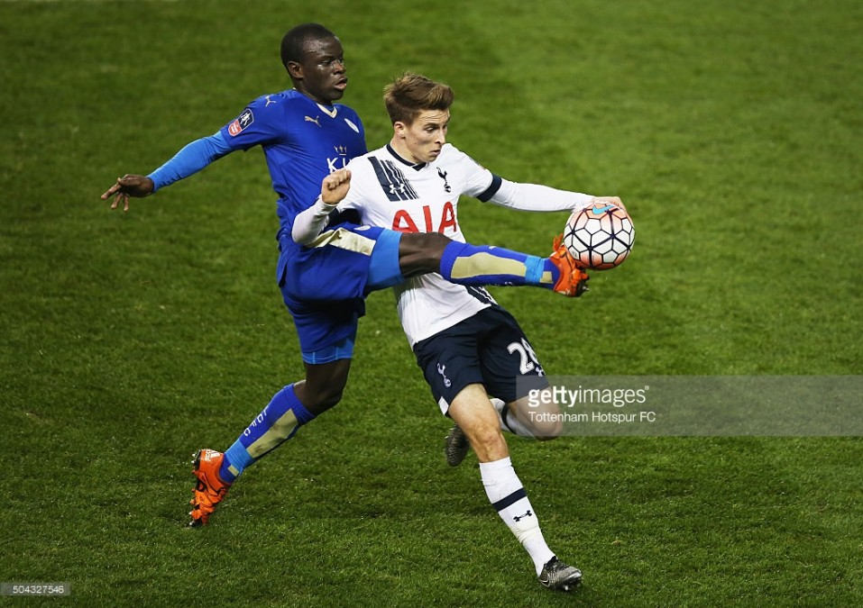 during the Emirates FA Cup third round match between Tottenham Hotspur and Leicester City at White Hart Lane on January 10, 2016 in London, England.