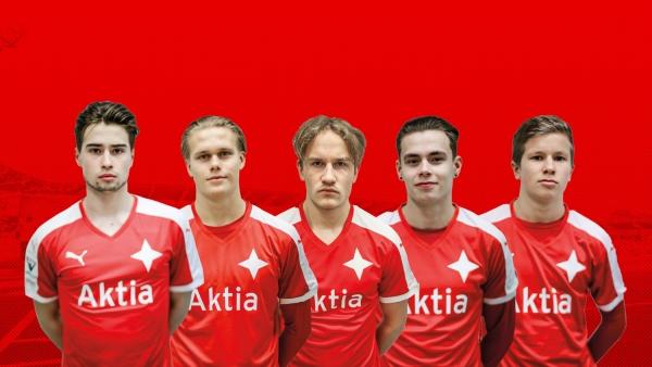 Kuvassa vasemmalta Eero Hyökyvirta, Antti Ulmanen, Kristian Heinolainen, Nikolas Saira ja Tommi Jyry.